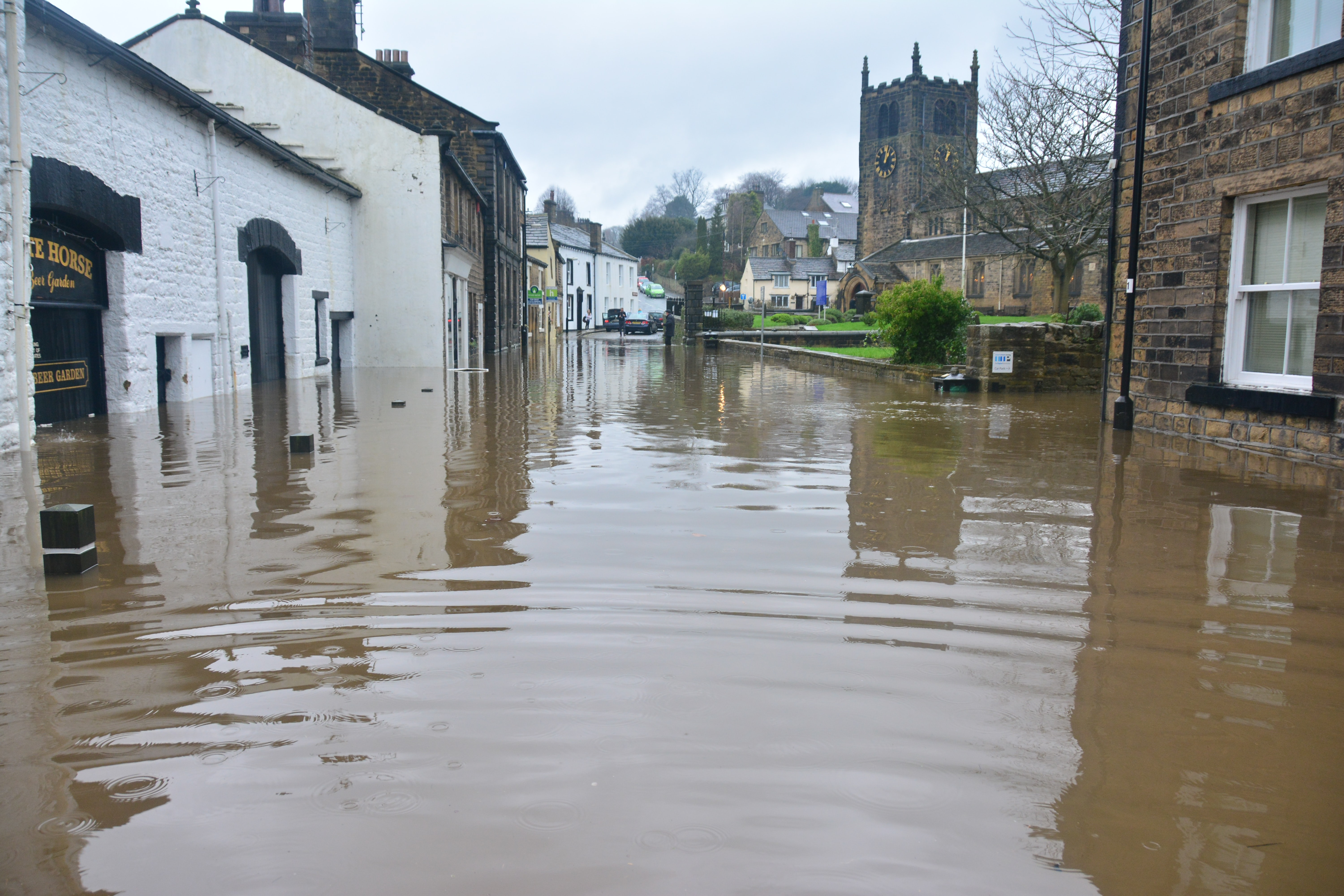 Flooding on a residential street
