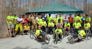 PVA volunteers at a handcycling event at Pocahontas State Park.